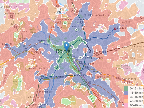 Rome isochrone maps.